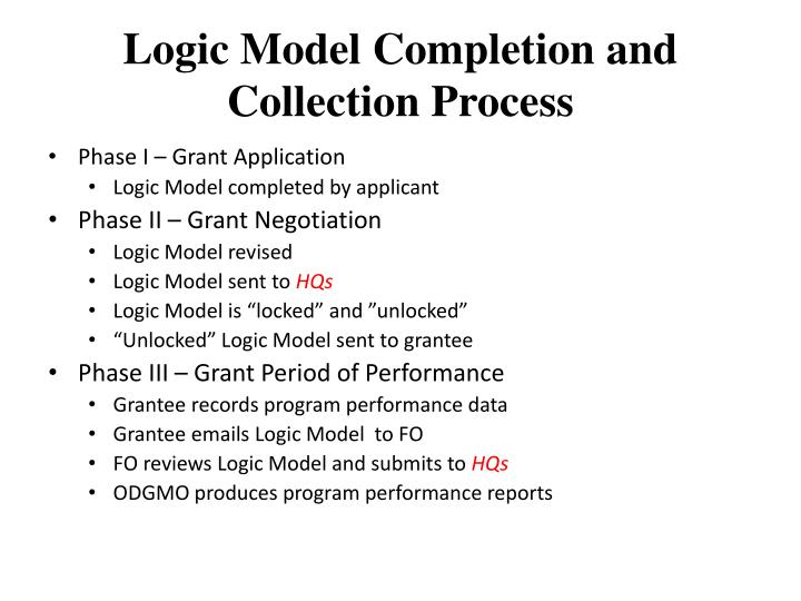 Logic Model Completion and Collection Process