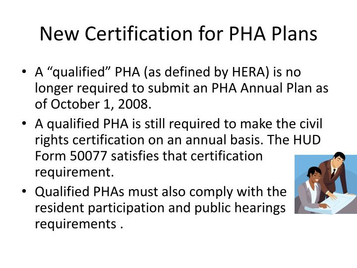New Certification for PHA Plans