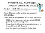 proposed 2011 hud budget invest in people and places