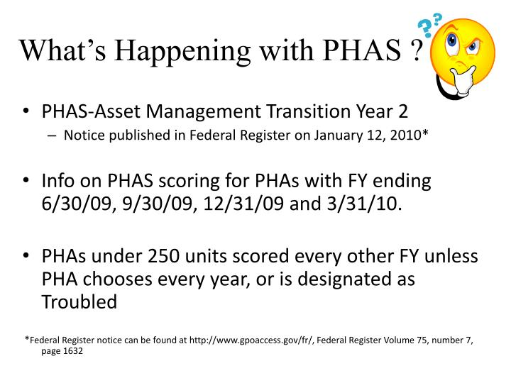 What's Happening with PHAS ?