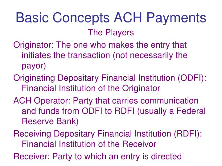 Basic Concepts ACH Payments