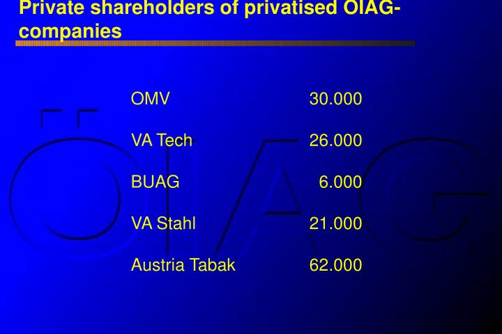 Private shareholders of privatised ÖIAG-companies