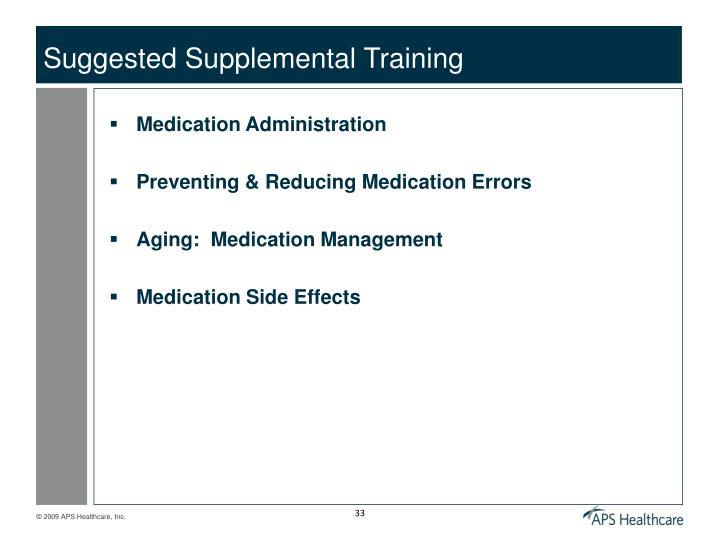 Suggested Supplemental Training