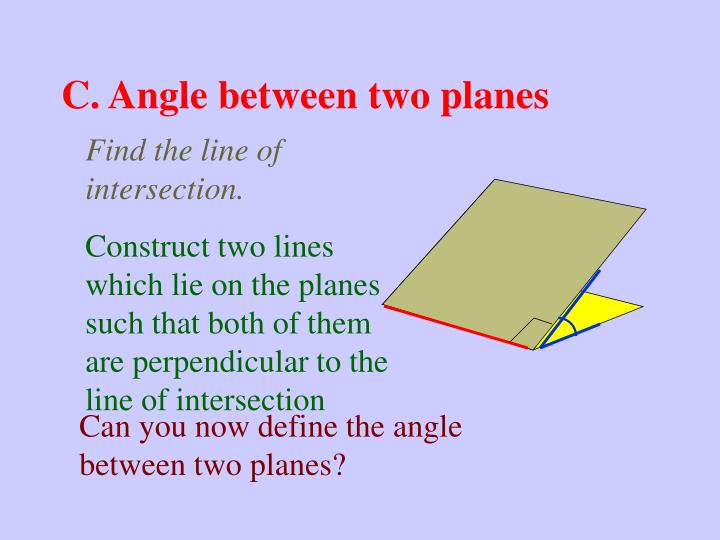 C. Angle between two planes