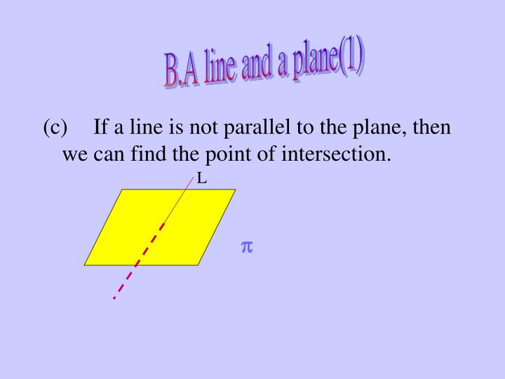 B.A line and a plane(1)