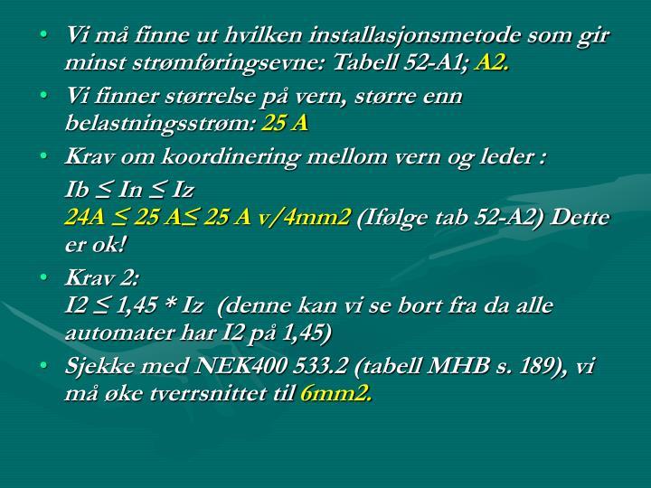 Vi må finne ut hvilken installasjonsmetode som gir minst strømføringsevne: Tabell 52-A1;