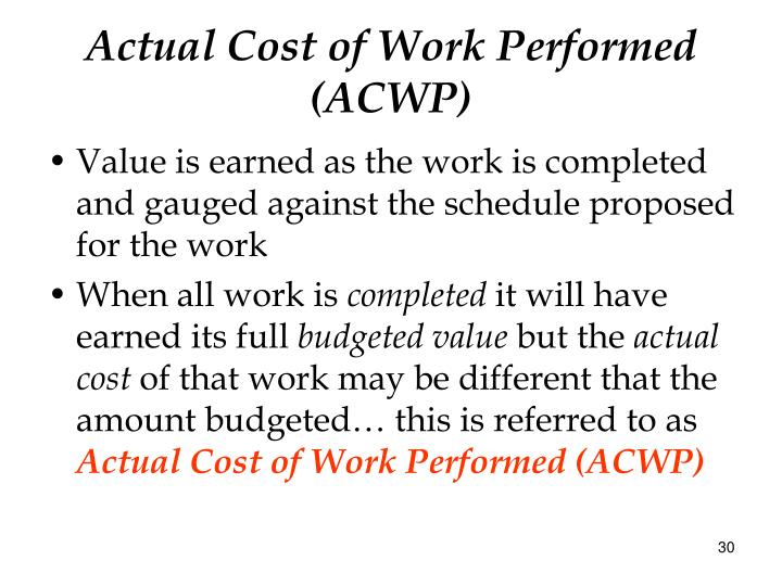 Actual Cost of Work Performed (ACWP)