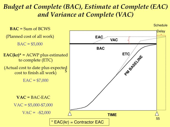 Budget at Complete (BAC), Estimate at Complete (EAC)