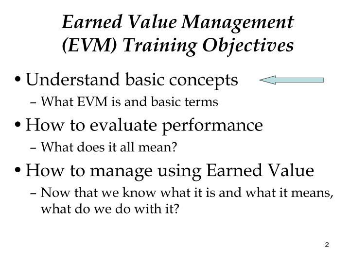 Earned value management evm training objectives
