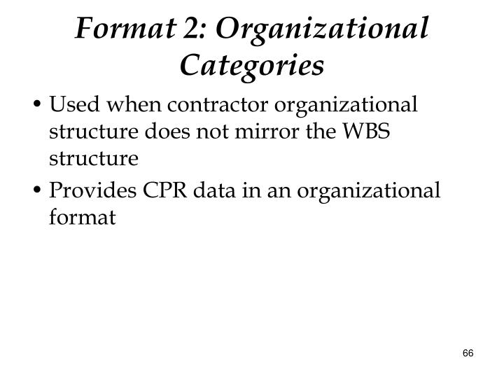 Format 2: Organizational Categories