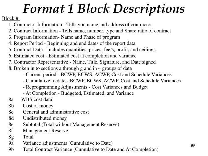 Format 1 Block Descriptions