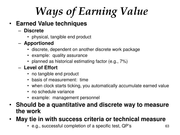 Ways of Earning Value