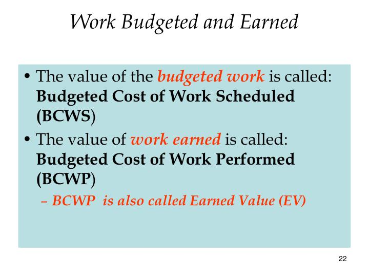 Work Budgeted and Earned