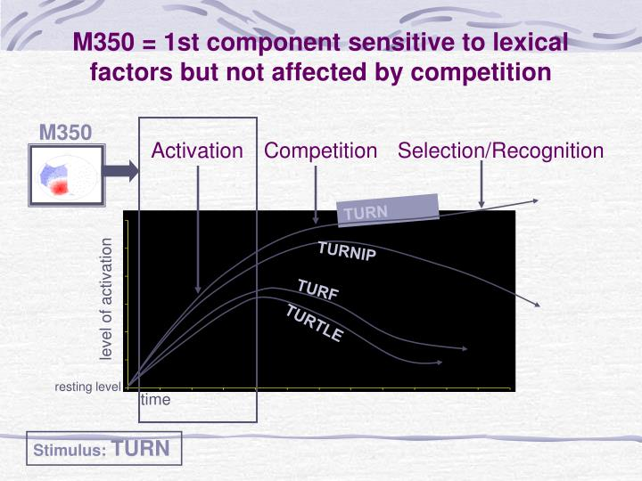 M350 = 1st component sensitive to lexical factors but not affected by competition
