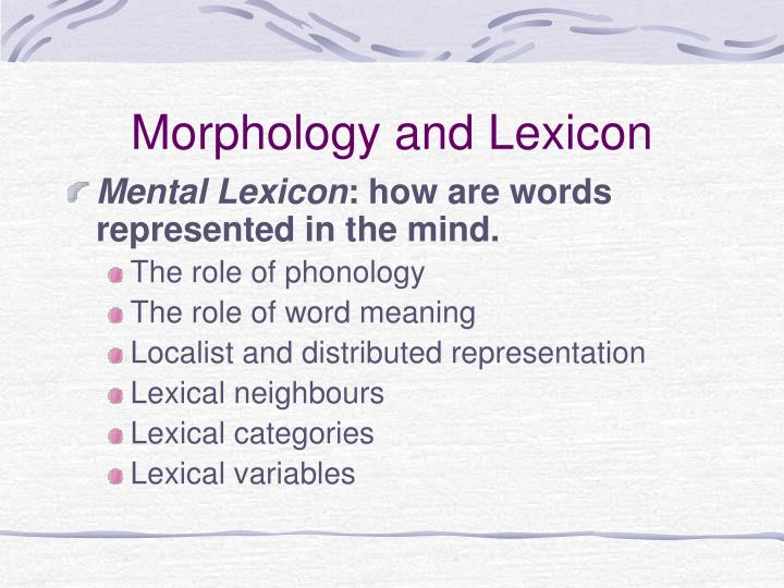 Morphology and Lexicon