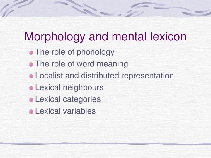 Morphology and mental lexicon