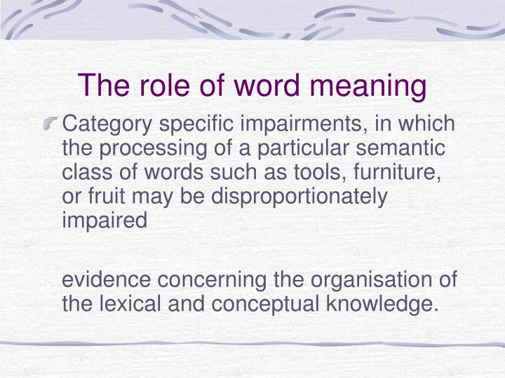 The role of word meaning