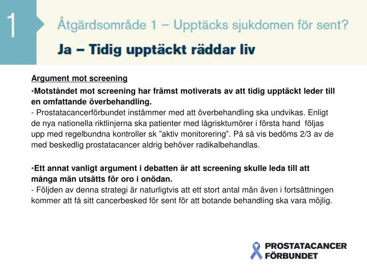 Argument mot screening
