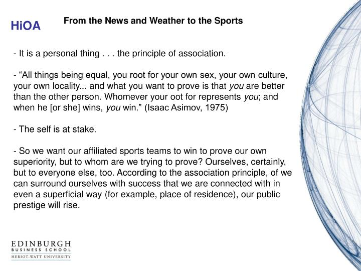 From the News and Weather to the Sports