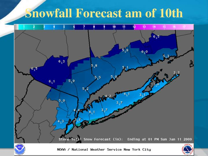 Snowfall Forecast am of 10th