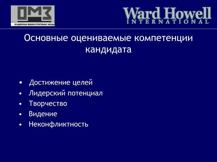 Основные оцениваемые компетенции кандидата