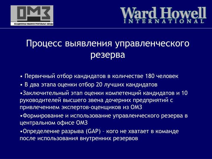 Процесс выявления управленческого резерва