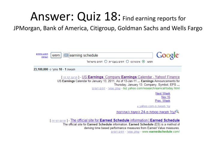 Answer: Quiz 18: