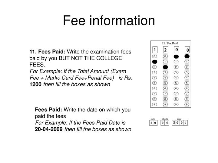 Fee information