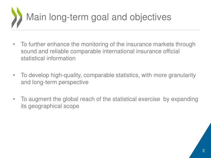 Main long term goal and objectives