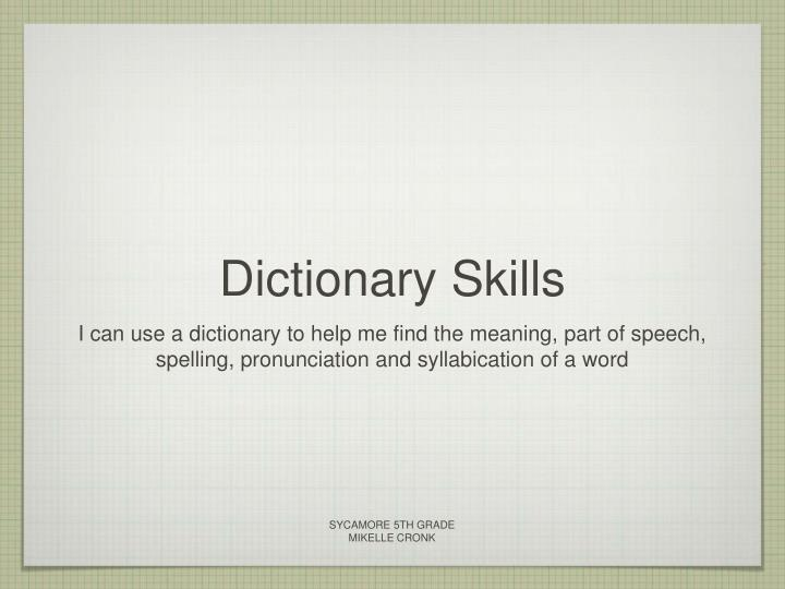 how to use a dictionary ppt