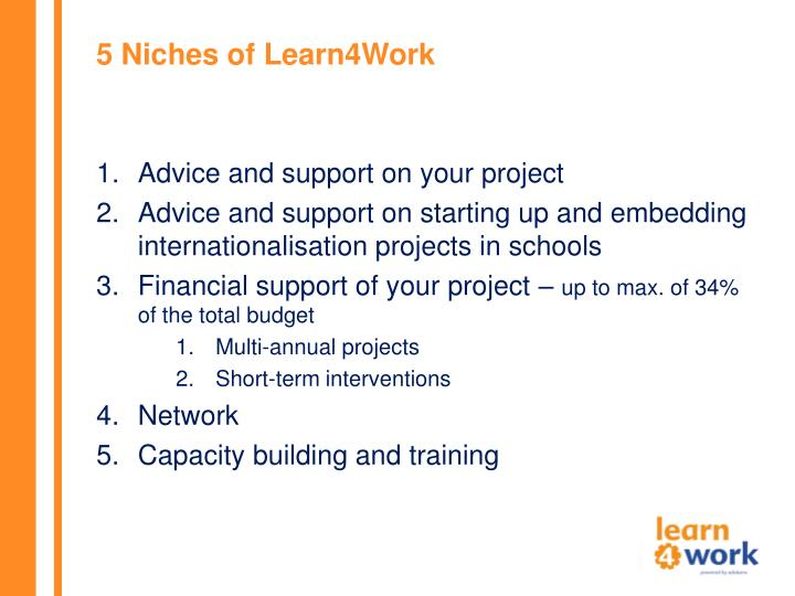 5 Niches of Learn4Work