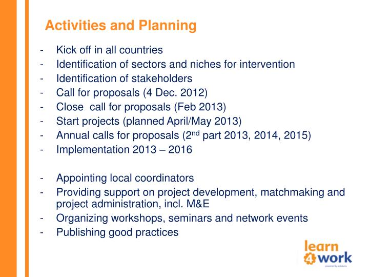 Activities and Planning