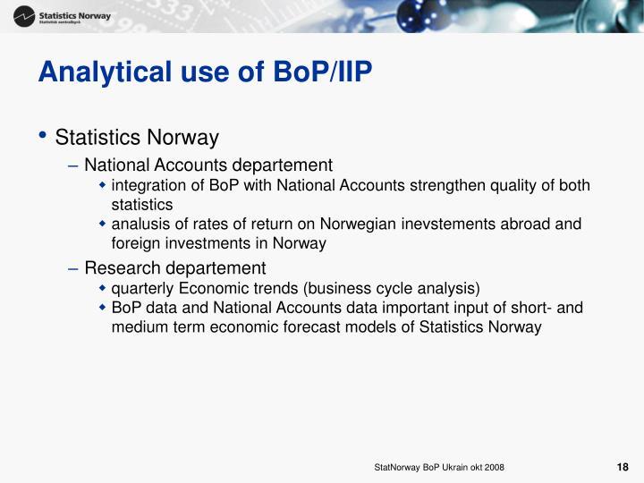 Analytical use of BoP/IIP