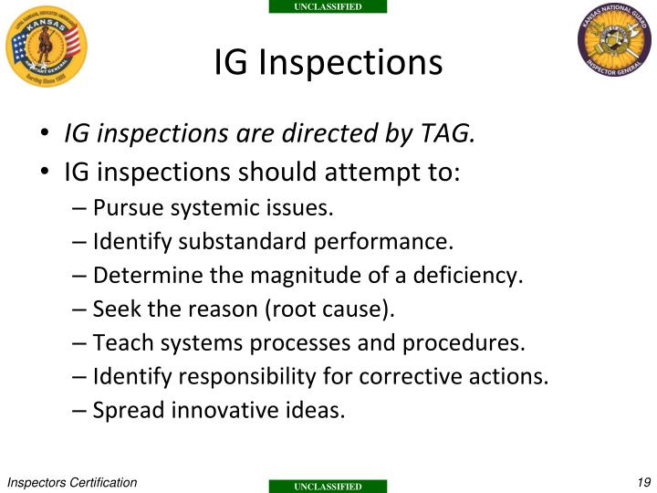 IG Inspections