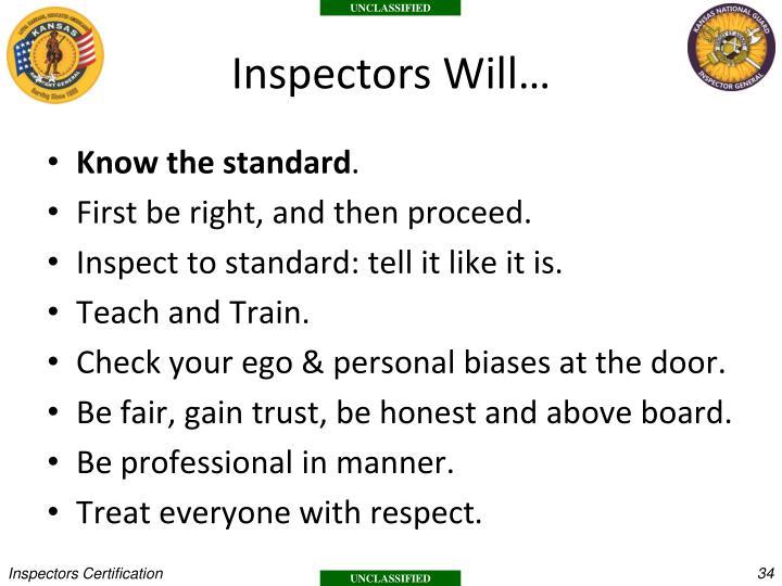 Inspectors Will…
