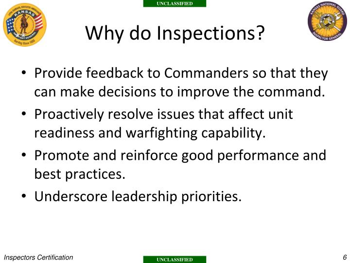 Why do Inspections?
