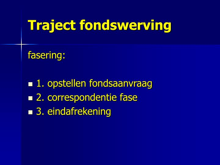 Traject fondswerving