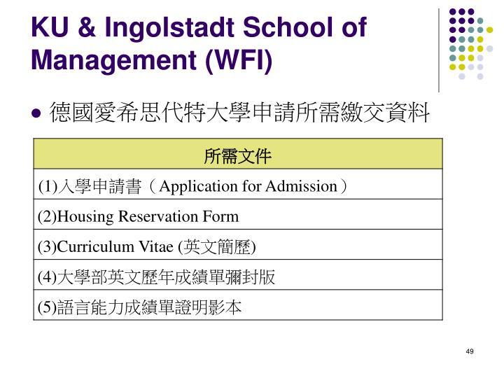 KU & Ingolstadt School of Management (WFI)