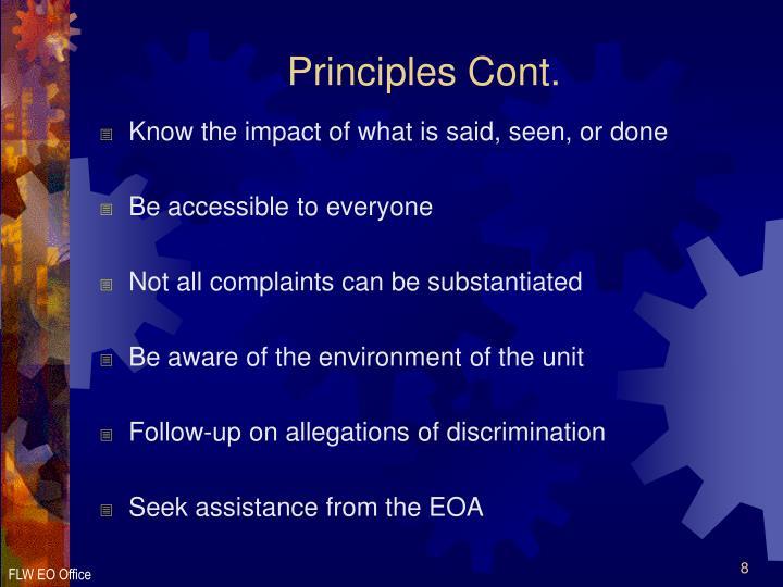 Principles Cont.