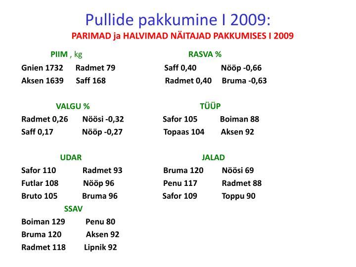 Pullide pakkumine I 2009: