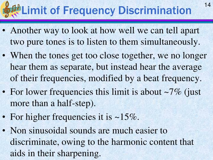 Limit of Frequency Discrimination