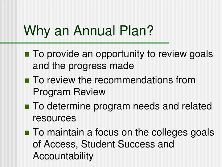 Why an Annual Plan?
