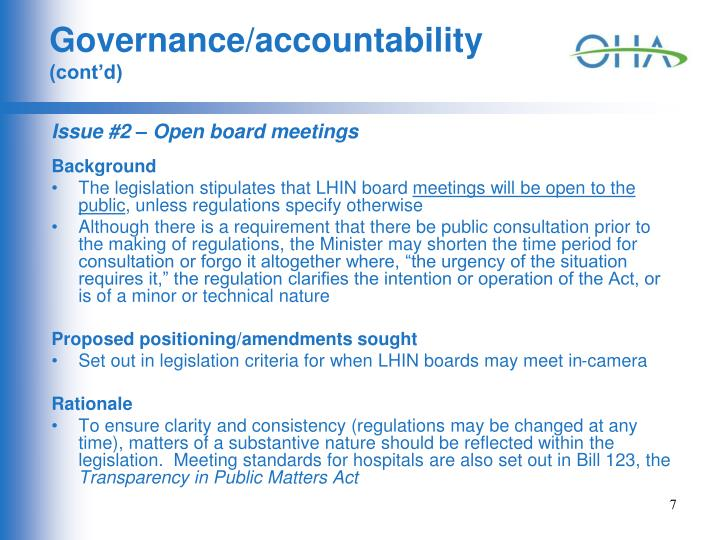 Governance/accountability