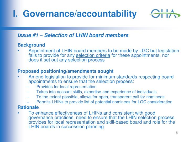 I.  Governance/accountability
