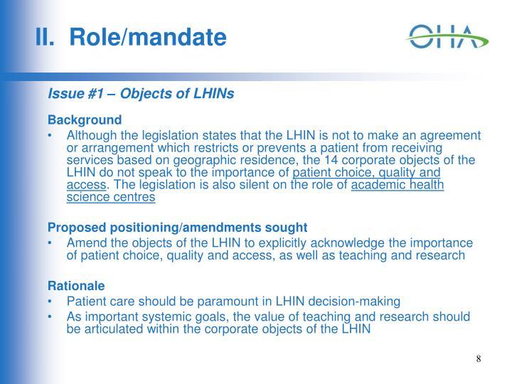 II.  Role/mandate
