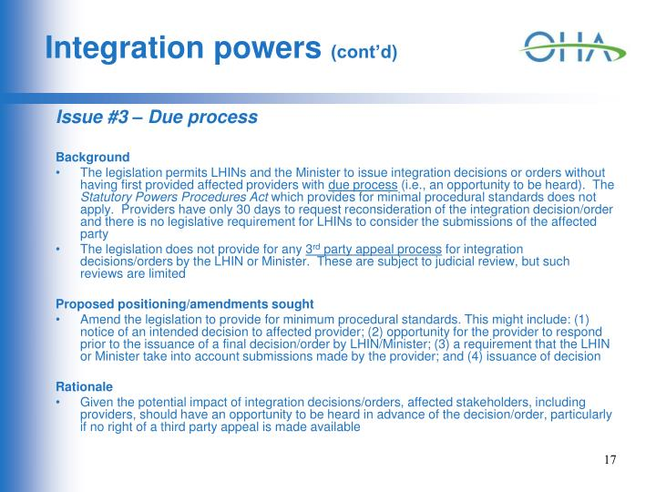 Integration powers