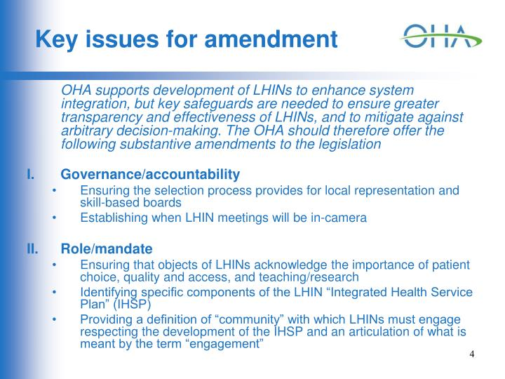 Key issues for amendment