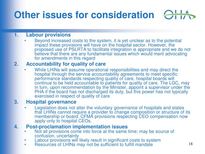 Other issues for consideration
