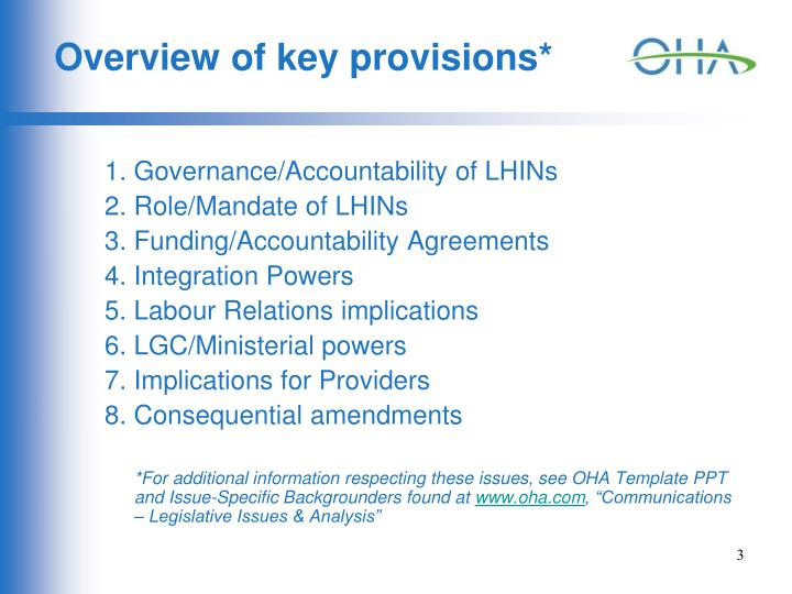 Overview of key provisions*