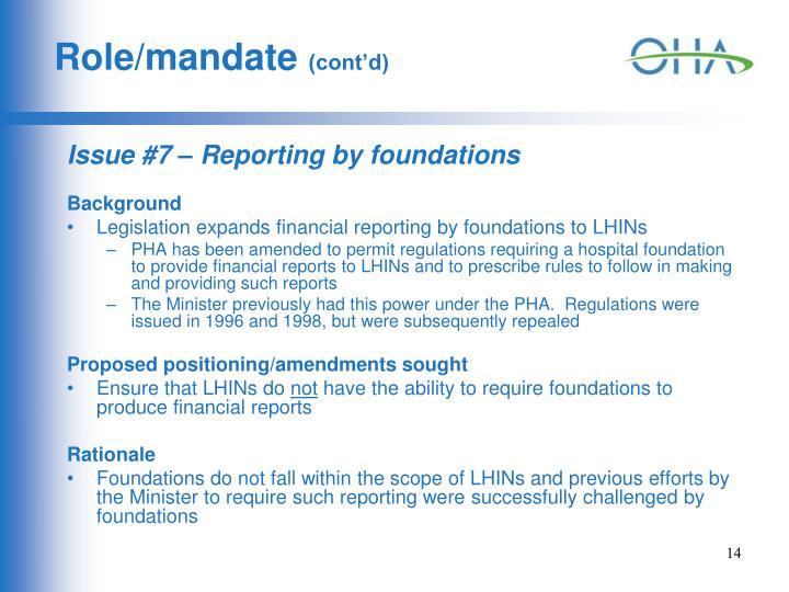 Role/mandate